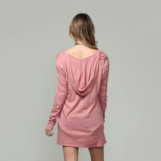Mauve Long Sleeve V-neck With Hoodie - Nixon & Co Boutique