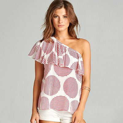 Red & White Circle Ruffle Top - Nixon & Co Boutique
