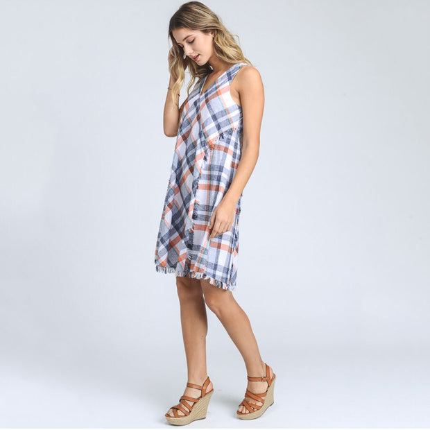 Plaid Tank Dress With Fringe - Nixon & Co Boutique