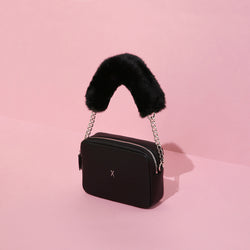 JOSEPH & STACEY OZ Mini Square Bag Chic Black W/Faux Black Fur