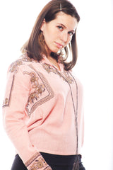 KNVAZ - Women - CAROLYN - GOLD EMBROIDERED BLOUSE