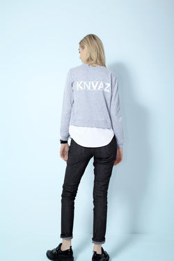 KNVAZ - Women - *NEW*   KNVAZ 2FER SWEATSHIRT (GREY)