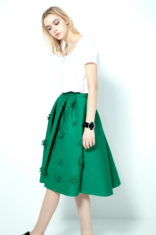 KNVAZ - Women - *NEW*   SEMRA - HIGH WAIST SWING SKIRT (GREEN)