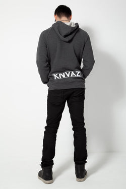 *NEW*   KNVAZ BACK LOGO HOODIE  (Dk Grey Heather)