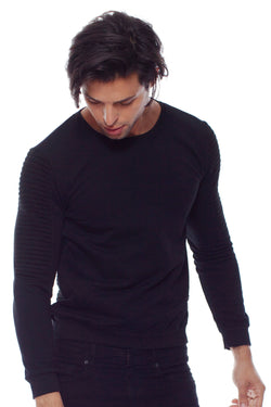 KNVAZ - Men - DANNY - MOTO QUILTED  SWEATSHIRT (BLACK)