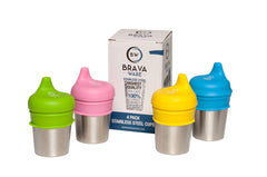 Set of 4-8oz Stainless Steel Cups and set of 4 Silicone Sippy Cup Lids