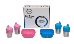 BravaWare BravaBowl Set of 4 Silicone Bowls, 4 Stainless Steel Cups and 4 Silicone Sippy Lids Blue and Pink