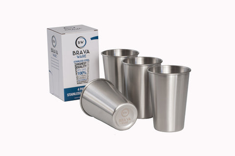 BravaWare Stainless Steel cups for kids and adults.  Set of 4 16oz. cups.