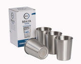 BravaWare Stainless Steel cups for kids, toddlers and adults.  Set of 4 8oz. cups.