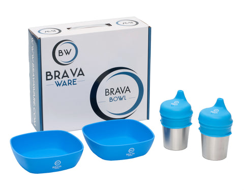 Bravaware BravaBowl Set:  2 Silicone Bowls, 2 Stainless Steel Cups and 2 Silicone Sippy Lids BLUE