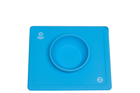 Bravaware BravaBowl One-Piece Silicone Placemat Baby Feeding Mat and Bowl for Babies Toddlers and Kids BLUE