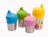 Sippy lids with stainless steel cups