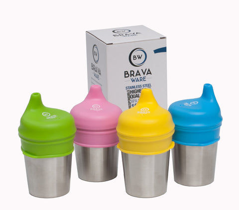 Stainless steel cups and silicone sippy lids for kids and toddlers.  This a set of 4 each 8oz cups and 4 sippy lids.