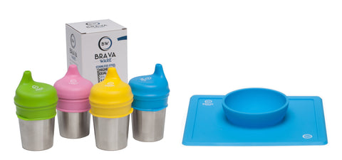 Bravaware set of 4-8oz. Stainless Steel Cups, set of 4 Silicone Sippy Cup Lids and BravaBowl BLUE Silicone Bowl/Placemat for kids and toddlers.