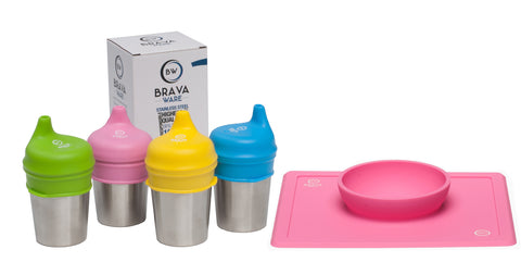 Bravaware set of 4-8oz. Stainless Steel Cups, set of 4 Silicone Sippy Cup Lids and BravaBowl PINK Silicone Bowl/Placemat for kids and toddlers.