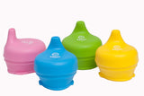 Silicone Sippy Lids for kids and toddlers.  Yellow Green Blue and Pink.