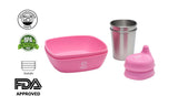 Bravaware BravaBowl Set:  4 Silicone Bowls, 4 Stainless Steel Cups and 4 Silicone Sippy Lids Blue and Pink