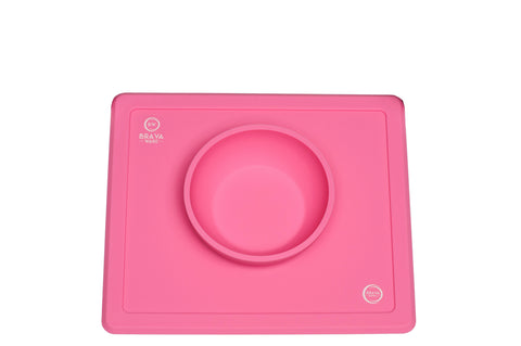 Bravaware BravaBowl One-Piece Silicone Placemat Baby Feeding Mat and Bowl for Babies Toddlers and Kids PINK