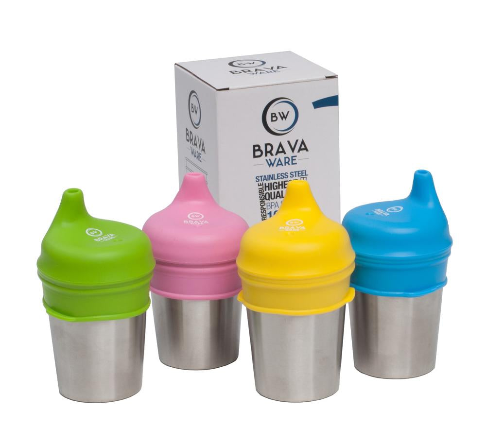 Bravaware stainless steel cups and silicone sippy lids