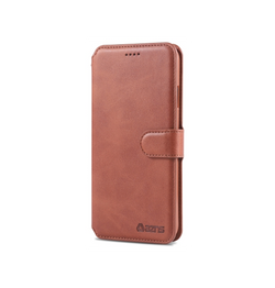 iPhone XS Max | iPhone XS Max - AZNS Diary Læder Cover Etui M. Pung - Brun - DELUXECOVERS.DK