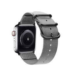 Apple Watch 42mm | Apple Watch (42-44mm) -  Hemmit® Nato Nylon Rem / Armbånd - Mat Gray - DELUXECOVERS.DK