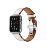 Apple Watch 42mm | Apple Watch (42-44MM) - BOX-W Kalveskinds Læder Rem - Hvid - DELUXECOVERS.DK