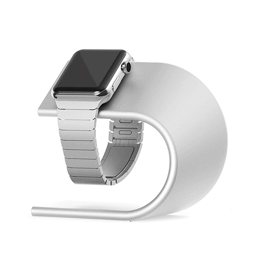 Apple Watch Tilbehør | Apple Watch - CNC Aluminium Dock / Oplader Stand - Sølv - DELUXECOVERS.DK