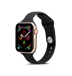 Apple Watch 42mm | Apple Watch (42-44mm) -  ICON™ Tynd Classic Silikone Rem - Sort - DELUXECOVERS.DK
