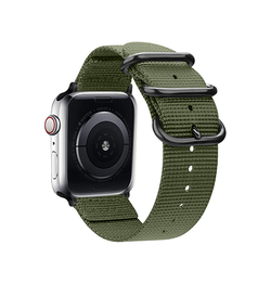 Apple Watch 42mm | Apple Watch (42-44mm) -  Hemmit® Nato Nylon Rem / Armbånd - Army Green - DELUXECOVERS.DK