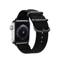 Apple Watch 42mm | Apple Watch (42-44mm) -  Hemmit® Nato Nylon Rem / Armbånd - Black Onyx - DELUXECOVERS.DK