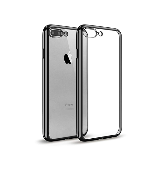 iPhone 7/8 Plus | iPhone 7/8 Plus - Flexible Silikone Cover - M. Sort Kant - DELUXECOVERS.DK