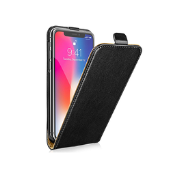 iPhone XS Max | iPhone XS Max - Diary Vertikal Læder FlipCover Etui - Sort - DELUXECOVERS.DK