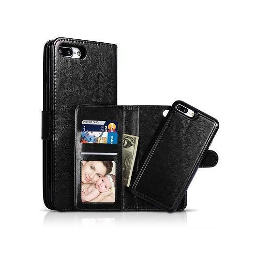 iPhone 7/8 Plus | iPhone 7/8 Plus - Vintage 2-In-1 Læder Etui M. Cover - Sort - DELUXECOVERS.DK