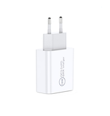 Oplader | FLOVEME® USB-A / USB-C Quick Charge 3.0 Oplader- 18W - Hvid - DELUXECOVERS.DK