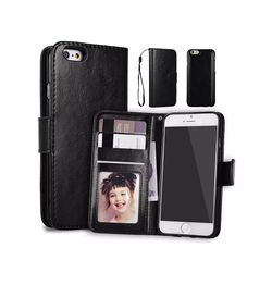 iPhone 6 Plus / 6s Plus | iPhone 6/6s Plus - Vintage 2-In-1 Læder Etui M. Cover - Sort - DELUXECOVERS.DK
