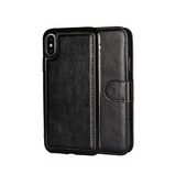 iPhone X/Xs - Vintage 2-In-1 Læder Etui M. Cover - Sort - DELUXECOVERS.DK