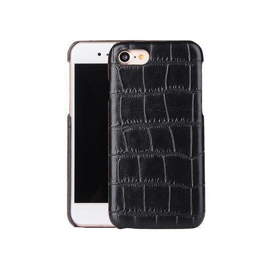 iPhone 6 / 6s | iPhone 6/6s - Crocodile Skin Læder Cover - Sort - DELUXECOVERS.DK