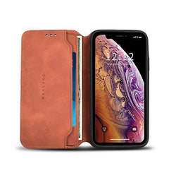 iPhone XS Max - Realike™ Folio Læder Cover M. Kortholder - Brun - DELUXECOVERS.DK