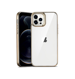 iPhone 12 Pro | iPhone 12 Pro - ESR Pietet™ Tyndt Silikone Cover - M. Guld Kant - DELUXECOVERS.DK