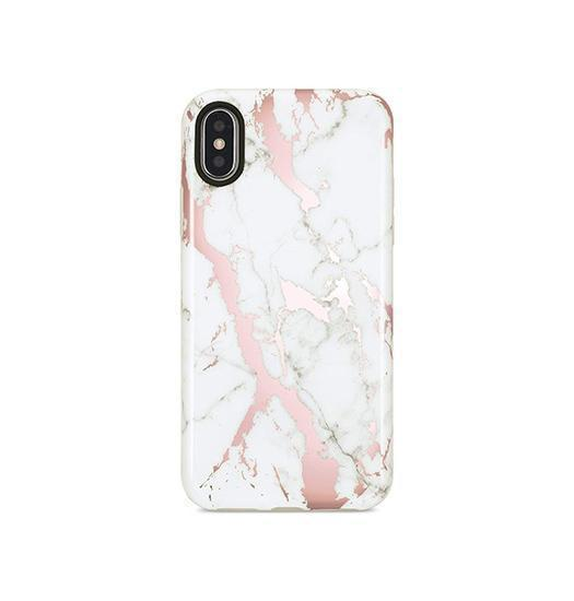 iPhone X | iPhone X/Xs - SPARKLE Pilion Marble Cover - Hvid / Rose - DELUXECOVERS.DK