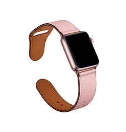 Apple Watch 42mm | Apple Watch (42-44mm) -  FINESSE Ægte Læder Rem - Rose - DELUXECOVERS.DK