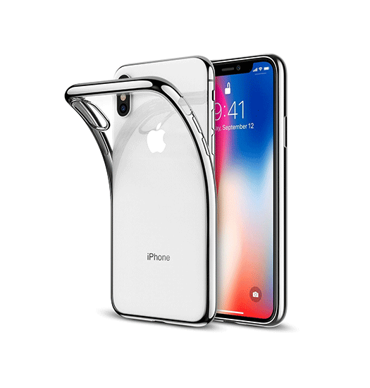 iPhone XS Max | iPhone XS Max - Original Frame Silikone Cover - Sølv - DELUXECOVERS.DK