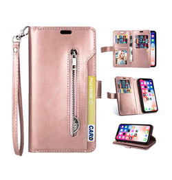 iPhone 11 Pro Max | iPhone 11 Pro Max - Platinum Multi Etui M. 9 Kort Pung - Rose - DELUXECOVERS.DK