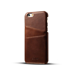 iPhone 6 Plus / 6s Plus | iPhone 6/6s Plus - NX Design Læder Bagcover M. Pung - Brun - DELUXECOVERS.DK