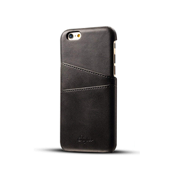 iPhone 6 Plus / 6s Plus | iPhone 6/6s Plus - NX Design Læder Bagcover M. Pung - Sort - DELUXECOVERS.DK
