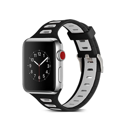 Apple Watch 38mm | Apple Watch (38-40MM) - Tough Silikone Sportsrem - Sort/Grå - DELUXECOVERS.DK