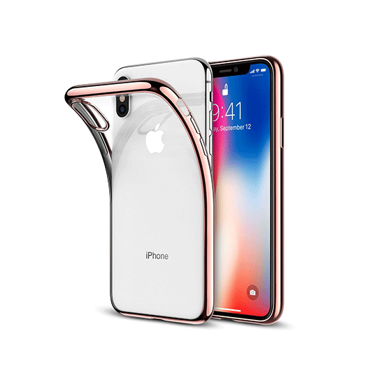 iPhone XS Max | iPhone XS Max - Original Frame Silikone Cover - RoseGuld - DELUXECOVERS.DK