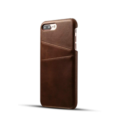 iPhone 7/8 Plus | iPhone 7/8 Plus - NX Design Læder Bagcover Pung - Brun - DELUXECOVERS.DK