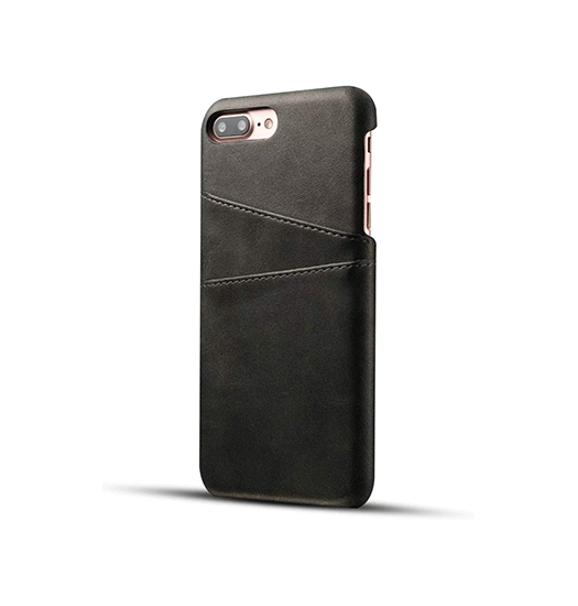 iPhone 7/8 Plus | iPhone 7/8 Plus - NX Design Læder Bagcover M. Pung - Sort - DELUXECOVERS.DK