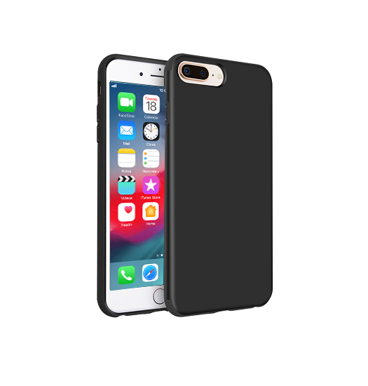 iPhone 7/8 Plus - PRO+ Design Mat Slim Silikone Cover - Sort - DELUXECOVERS.DK